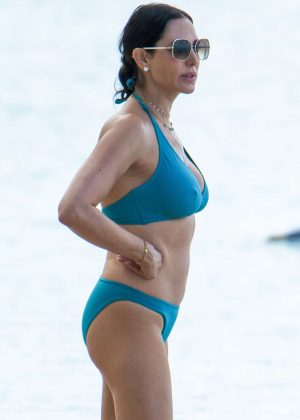 Lauren Silverman in Blue Bikini on the beach in Barbados
