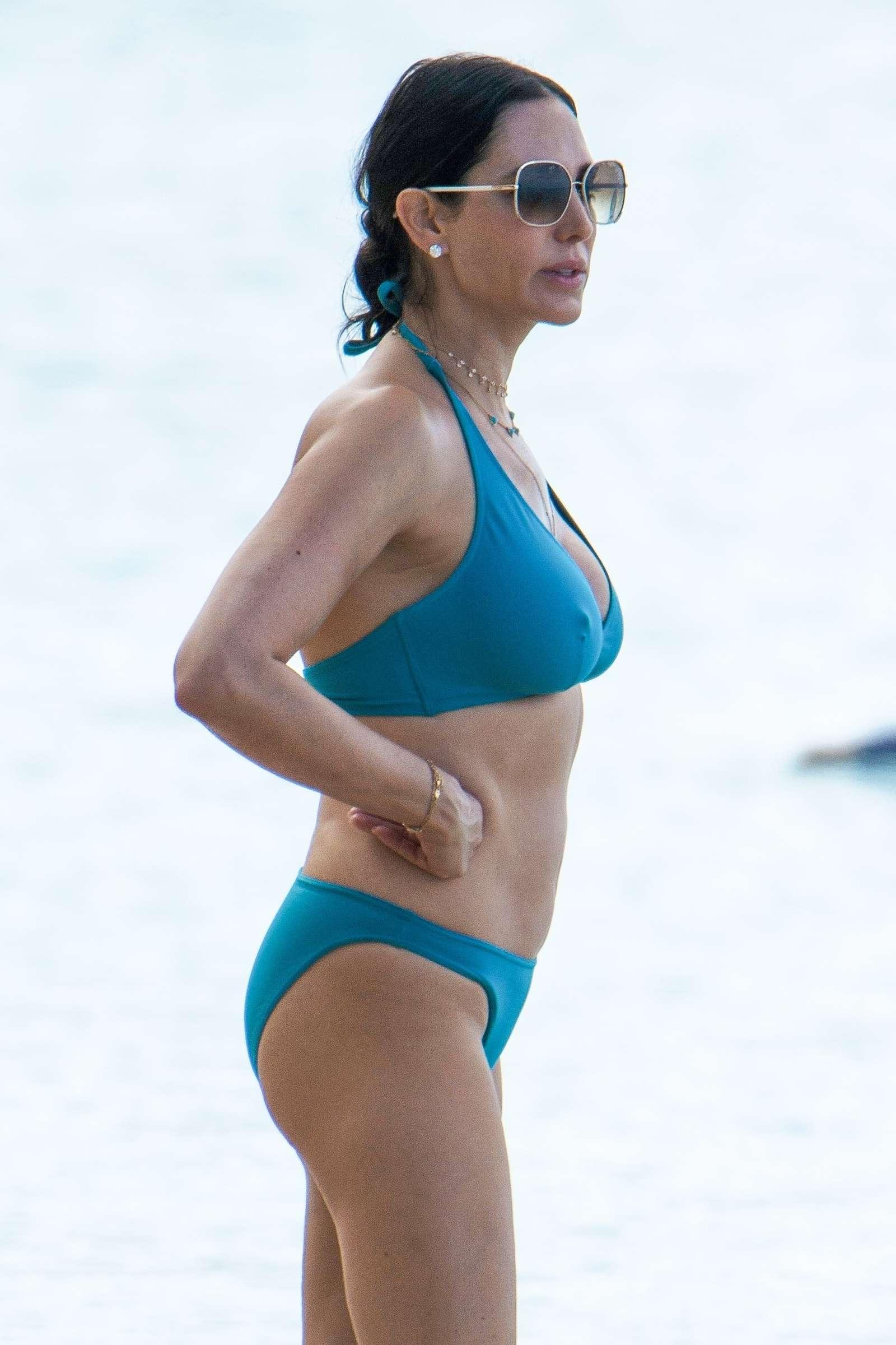 Lauren Silverman in Blue Bikini on the beach in Barbados