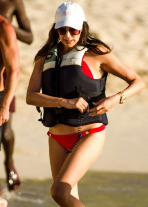 Lauren Silverman in Red Bikini - Jet ski riding in Barbados