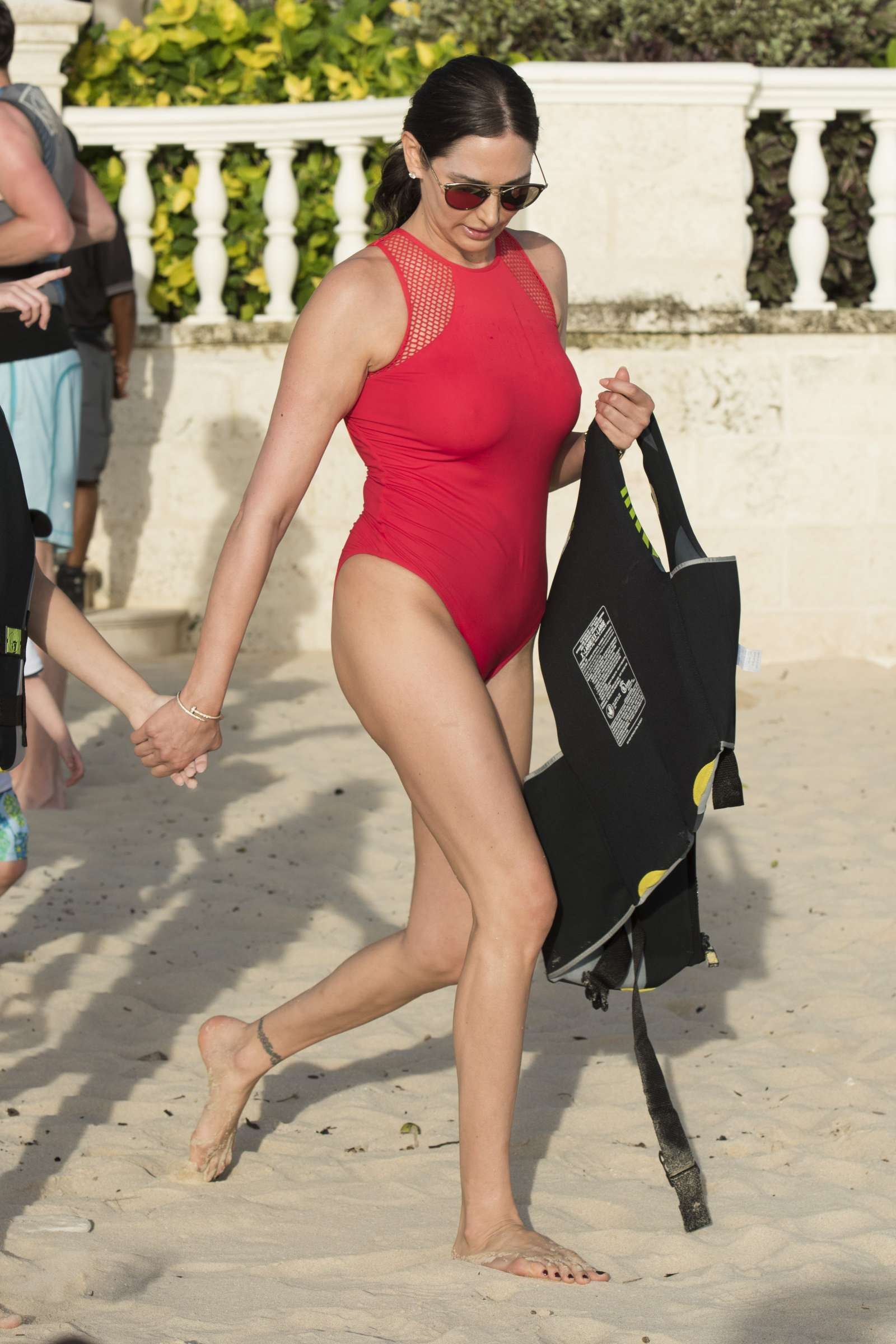 lauren silverman in red swimsuit in barbados
