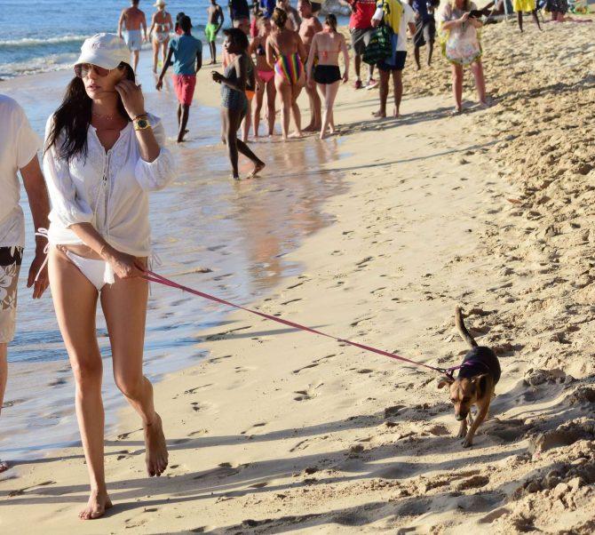 Lauren Silverman in White Bikini - Walking her dog at a beach in Barbados