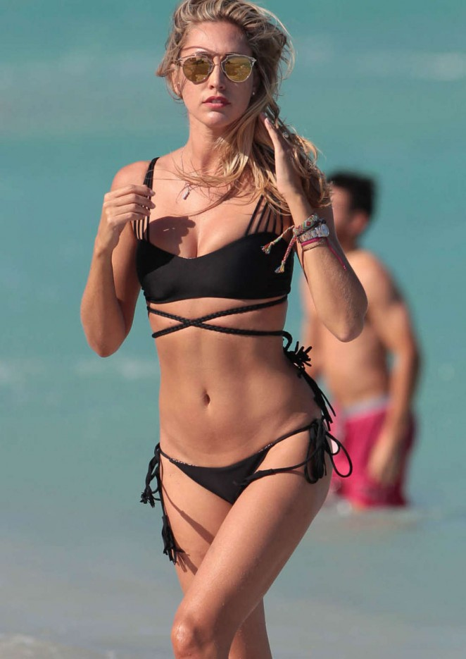 Lauren Stoner in Black Bikini on Miami Beach
