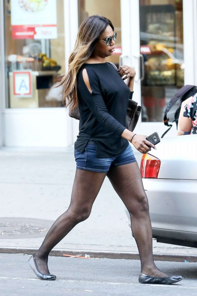 Laverne Cox in Jeans Shorts Out in New York