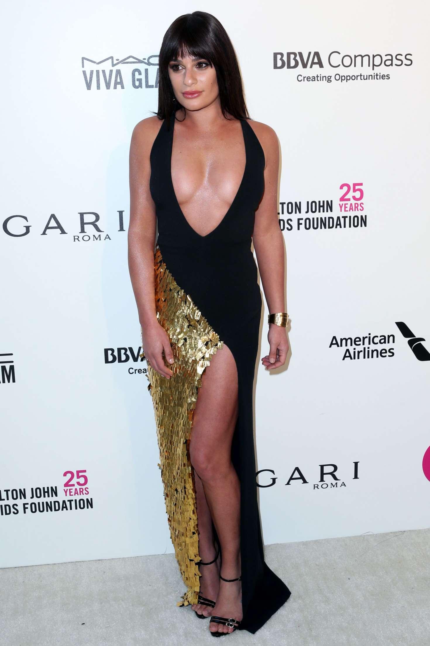 Lea Michele 2018 : Lea Michele: 2018 Elton John AIDS Foundations Oscar Viewing Party -06