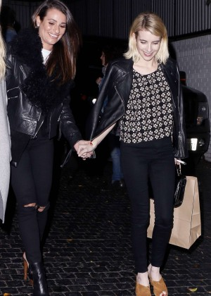 Lea Michele and Emma Roberts Leaving Chateau Marmont in Los Angeles