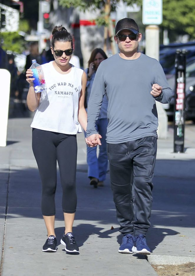 Lea Michele and Zandy Reich holding hands out in Los Angeles