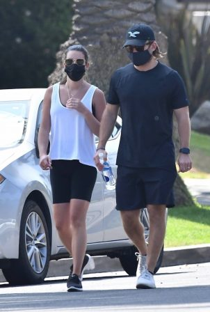 Lea Michele and Zandy Reich - Out for power walk