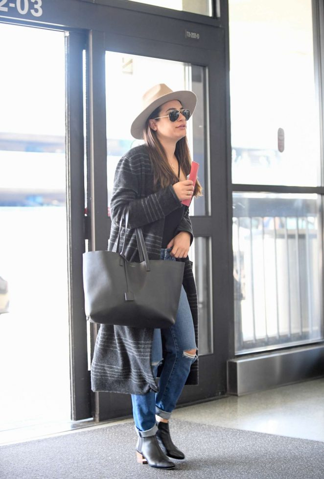 Lea Michele Arrives at LAX airport in Los Angeles