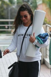 Lea Michele - Arriving at a yoga studio in Santa Monica