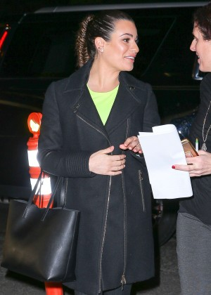 Lea Michele Arriving at the SoulCycle x Target Launch Event in New York City