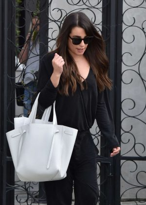 Lea Michele at a hair salon in West Hollywood