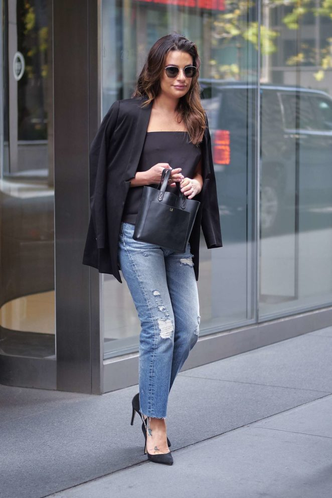 Lea Michele at an office building in New York City