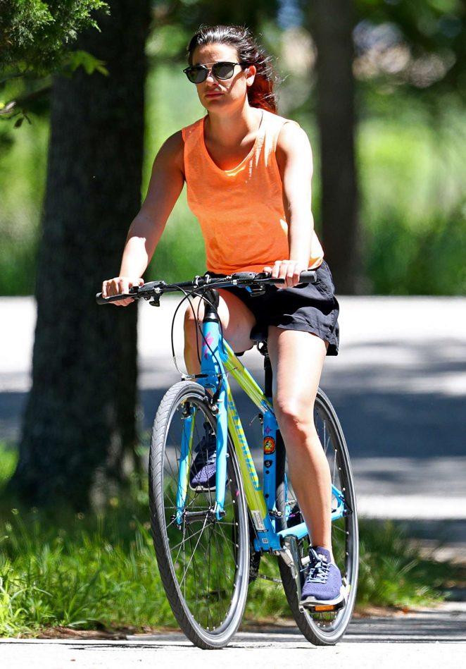 Lea Michele - Bike Riding in The Hamptons
