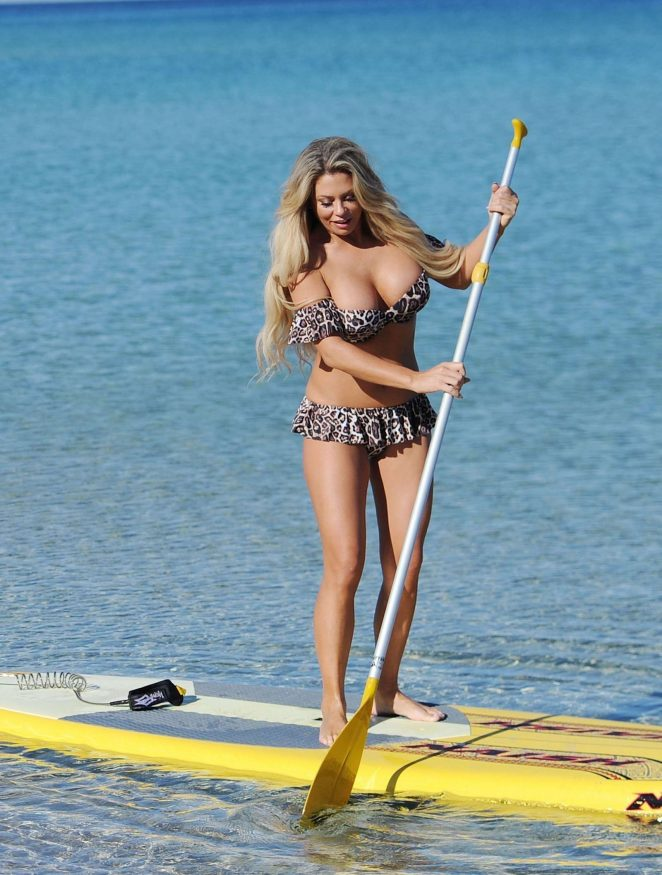 Bianca Gascoigne in Bikini Paddleboarding in Ibiza