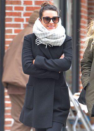 Lea Michele in Black Coat out in Manhattan