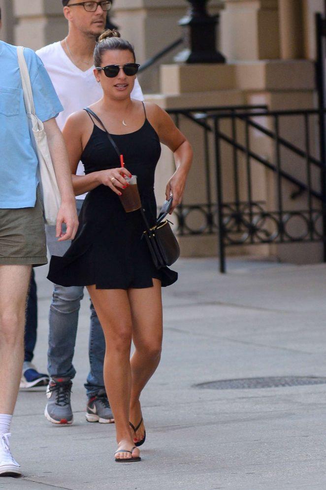 Lea Michele in Black Mini Dress out in Manhattan