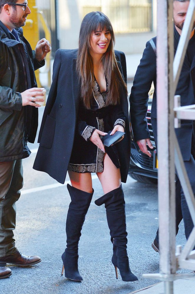 Lea Michele in Black Mini Dress out in New York