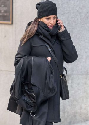 Lea Michele in Black out in New York