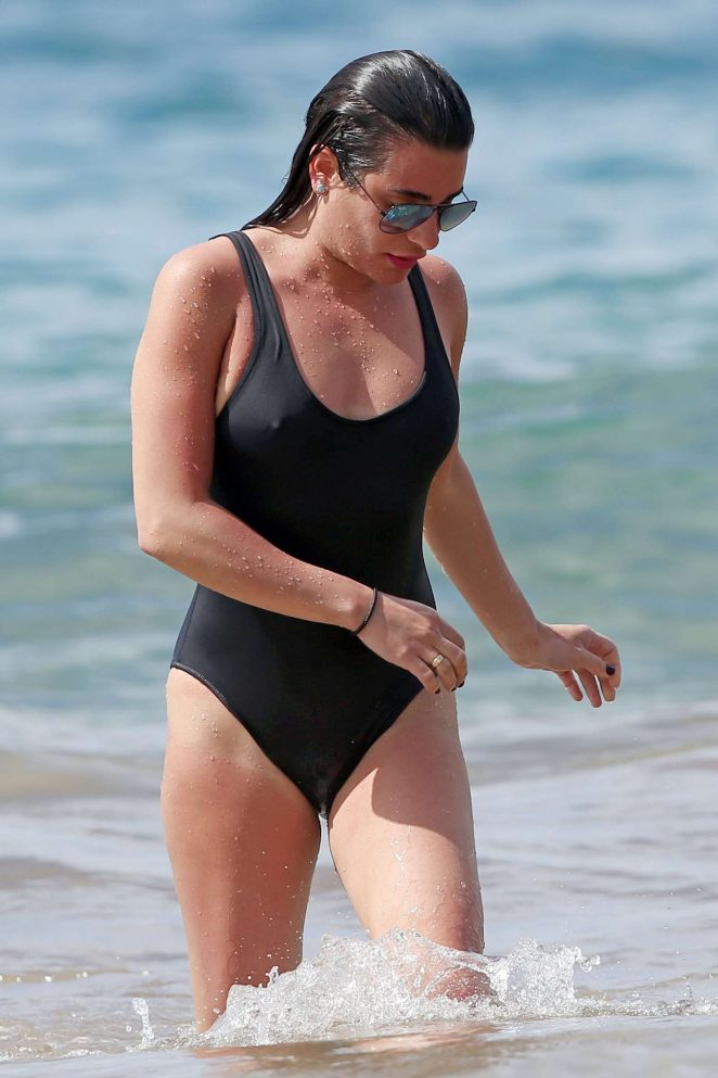 Lea Michele in Black Swimsuit at a beach in Hawaii