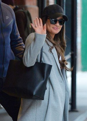 Lea Michele in Blue Coat Leaving her hotel in NY