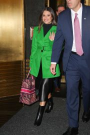 Lea Michele in Green Coat and Leather Skirt - Out in New York