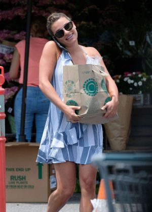 Lea Michele in Mini Dress out in Brentwood