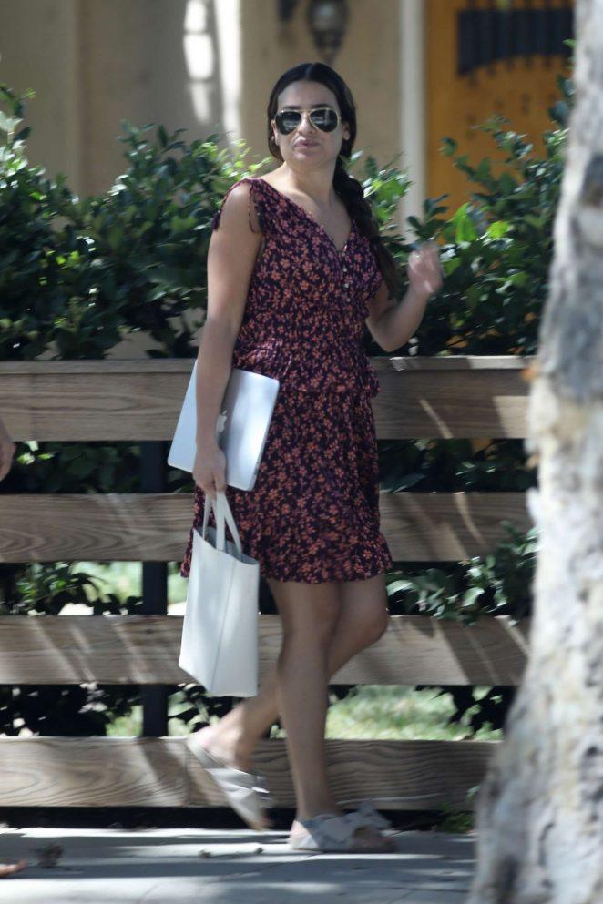 Lea Michele in Mini Dress - Out in Studio City