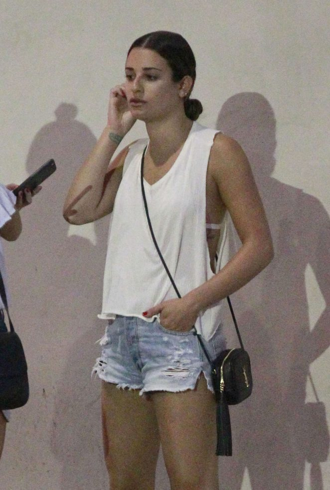Lea Michele in Shorts Leaving Sugarfish in Beverly Hills