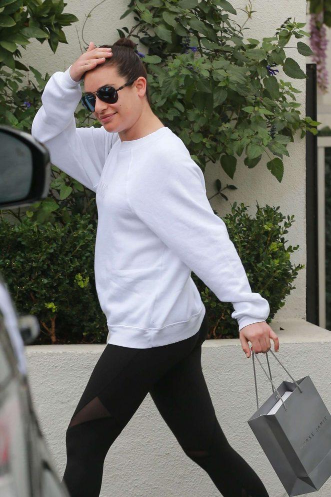 Lea Michele in Spandex - Visits a spa in Santa Monica
