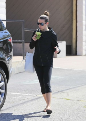 Lea Michele in Tights Leaving a gym in Santa Monica