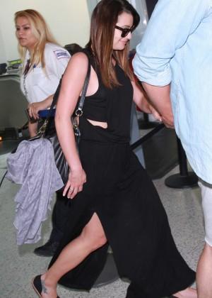 Lea Michele in Black Dress at LAX airport in LA