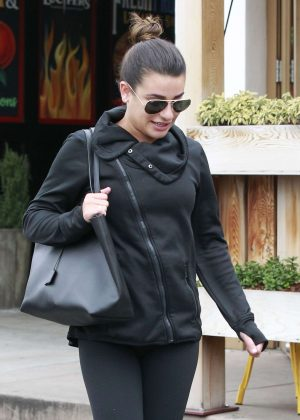 Lea Michele - Leaving M Cafe in Los Angeles