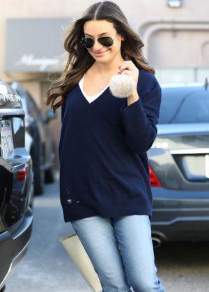 Lea Michele - Leaving Nine Zero One Salon in West Hollywood