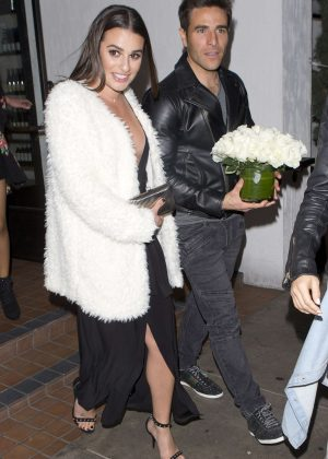 Lea Michele - Leaving The Fig and Olive Restaurant in West Hollywood