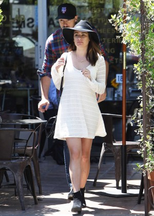 Lea Michele in White Mini Dress out in West Hollywood