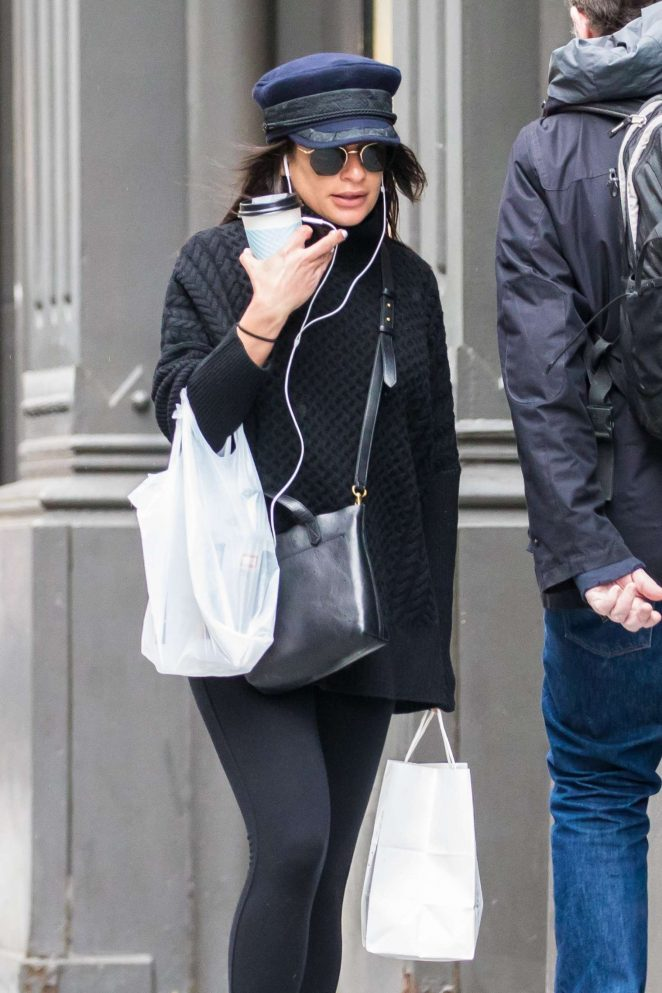 Lea Michele out for a morning coffee in New York