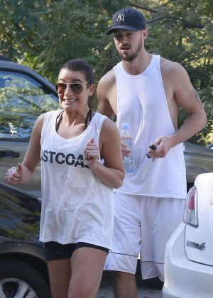 Lea Michele in Shorts out on a hike in LA