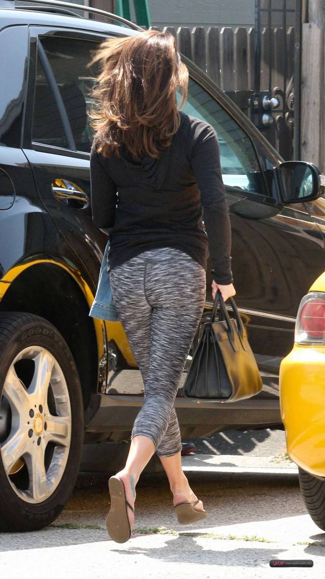 Lea Michele in Tights Outside a Nail Salon in Los Angeles