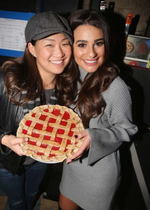 Lea Michele pose backstage at the hit musical 'Waitress' on Broadway in NYC