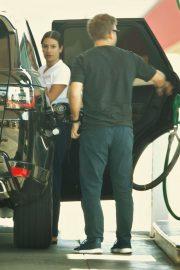 Lea Michele - Pumping gas in LA