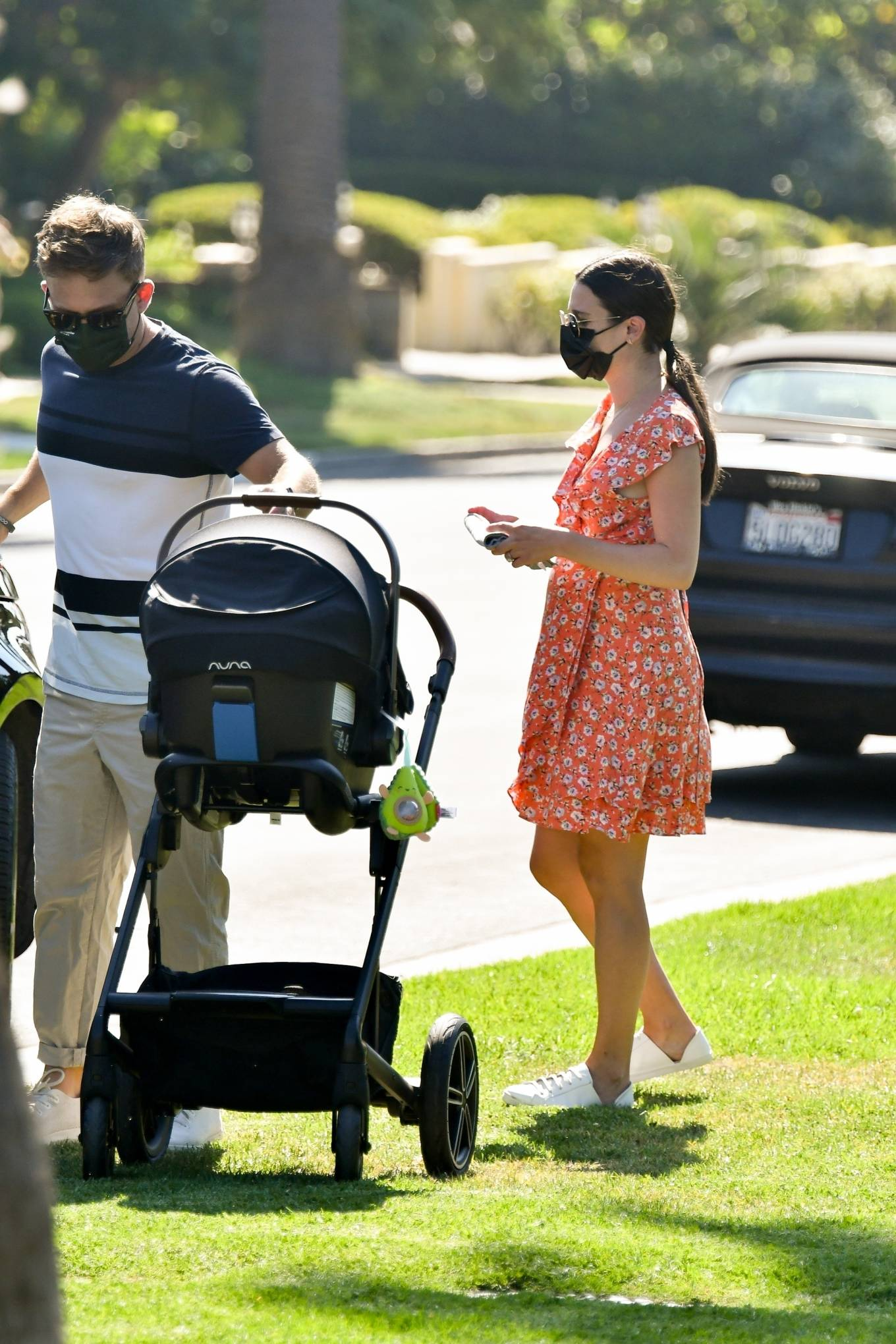 Lea Michele - Seen while takes her baby out in Brentwood