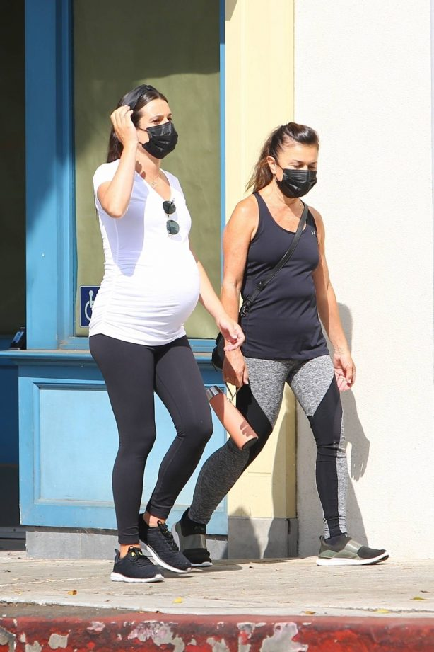 Lea Michele - Shows baby bump while walk with mother Edith in Santa Monica