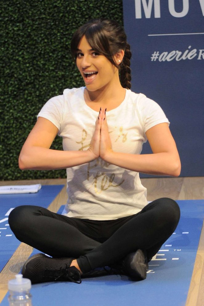 Lea Michelle - Works Out and Meditates at a LIFTED class in NY
