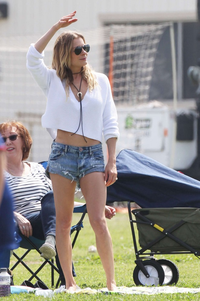 LeAnn Rimes in Denim Shorts at Canoga Park in California