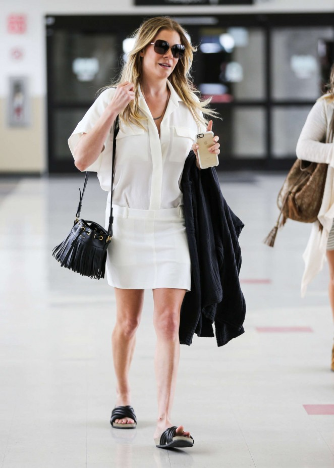 LeAnn Rimes in White Skirt at LAX airport in LA