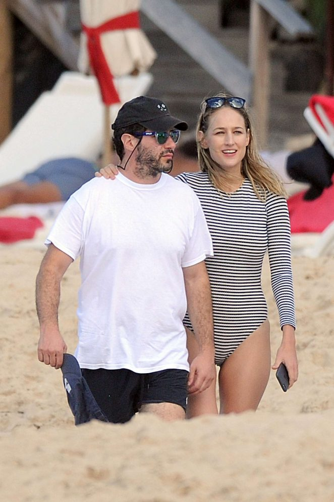 Leelee Sobieski With Her Husband Adam Kimmel on the beach on St. Barts