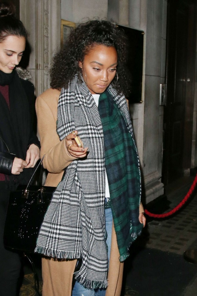 Leigh-Anne Pinnock - Leaving Steam & Rye Restaurant in London