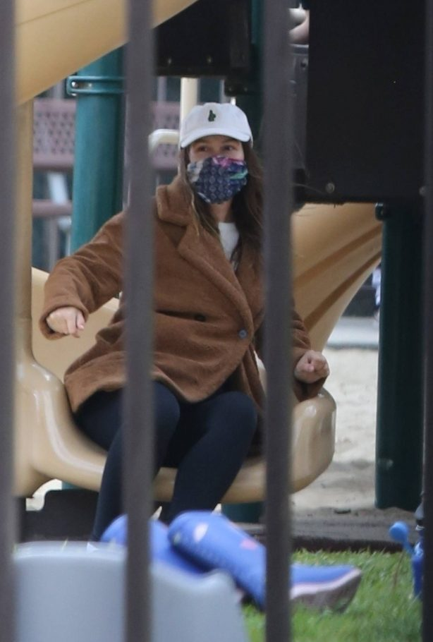 Leighton Meester - At a park with her daughter in Los Angeles