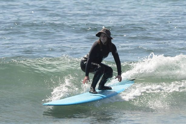 Leighton Meester - With Adam Brody surfing in Malibu