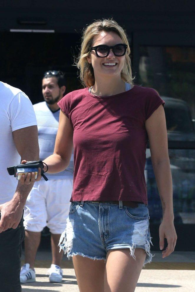 Leila George in Denim Shorts out in Malibu